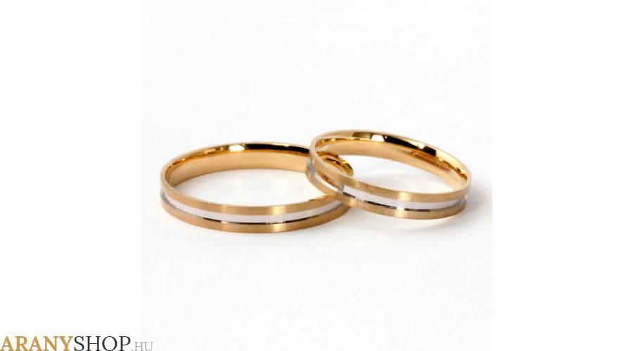 Fehér, sárga és rozé arany karikagyűrű